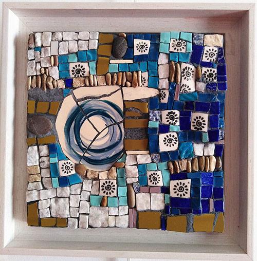 la rose bleue de Yaëlle mosaique création vente décoration