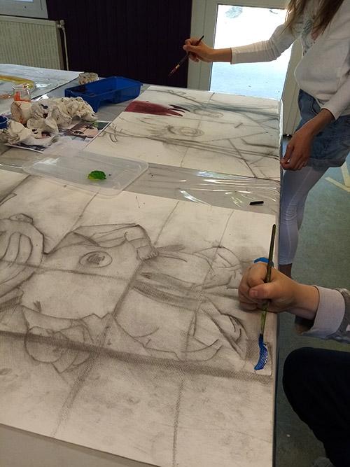 Manga peinture gouache initiation réalisation couleurs Delphine Legal